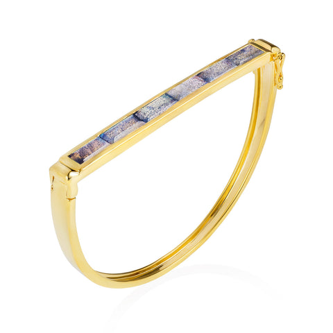 Gold Geometric Bangle Labradorite | Neola British Gemstone Jewellery