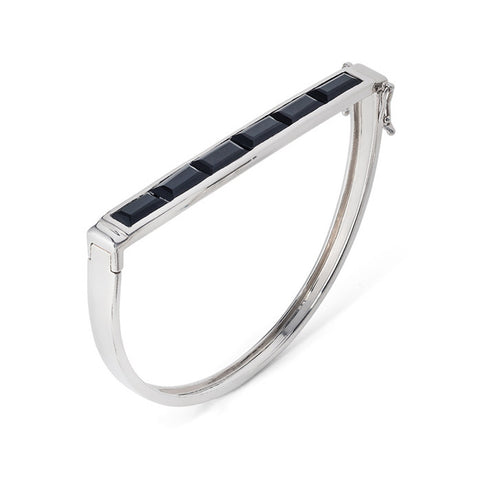 Sterling Silver Bangle Black Onyx Geometric | Neola British Gemstone Jewellery