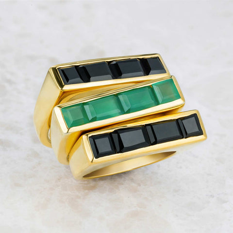 Gold Stacking Ring Green Onyx Geometric | Neola British Gemstone Jewellery