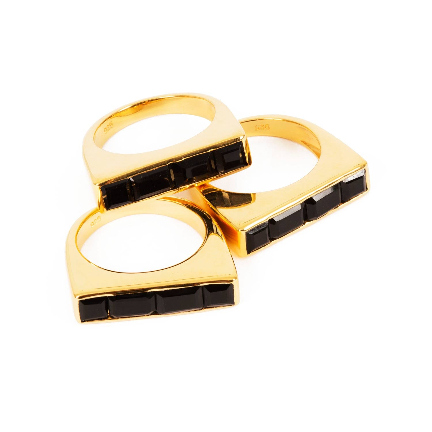 Gold Stacking Ring Black Onyx Geometric | Neola British Gemstone Jewellery