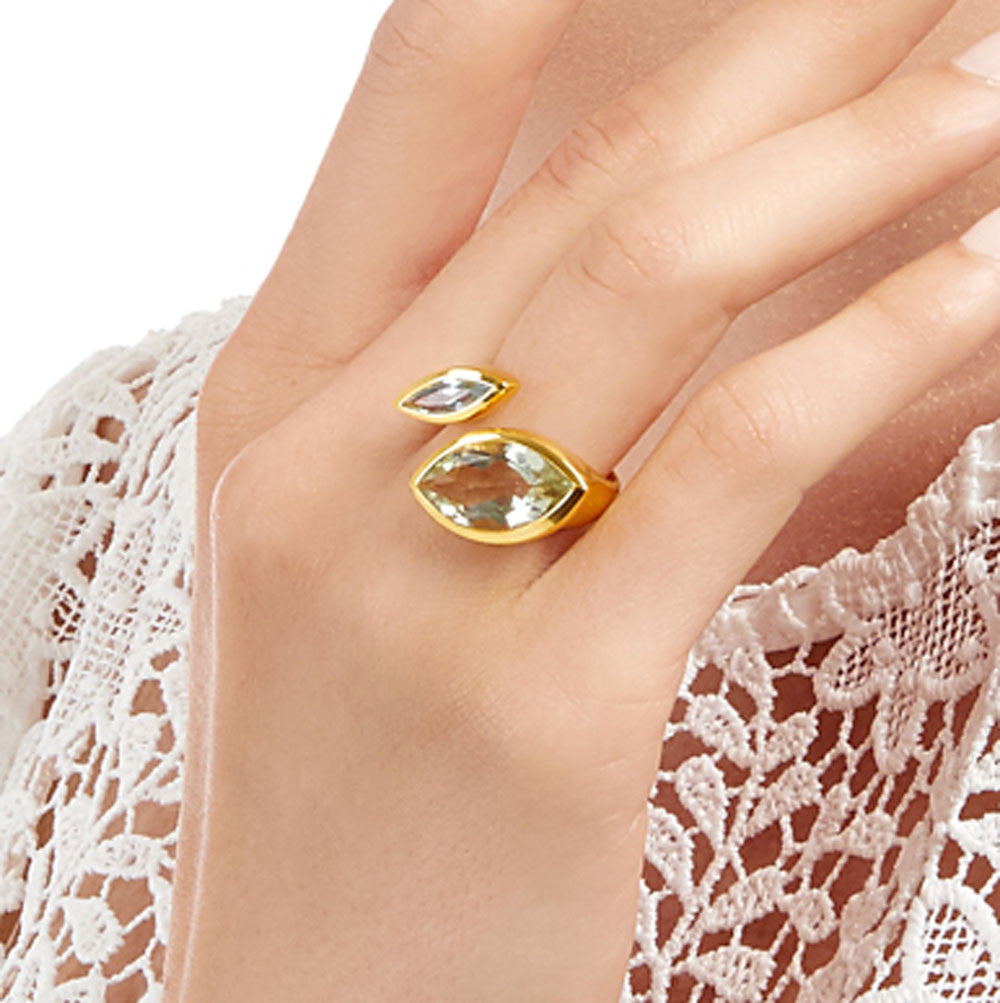Gold vermeil cocktail ring, Citrine, Aqua Chalcedony gemstone, geometric, unique British design, sustainable