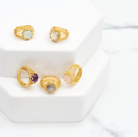 Gold Ring Purple Amethyst Cocktail | Neola British Gemstone Jewellery