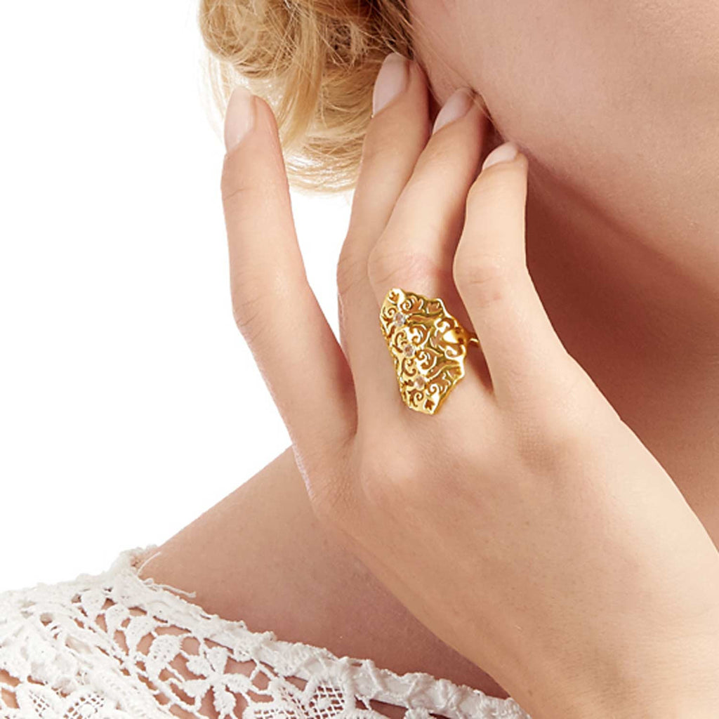 Jade Gold Intricate Cocktail Ring