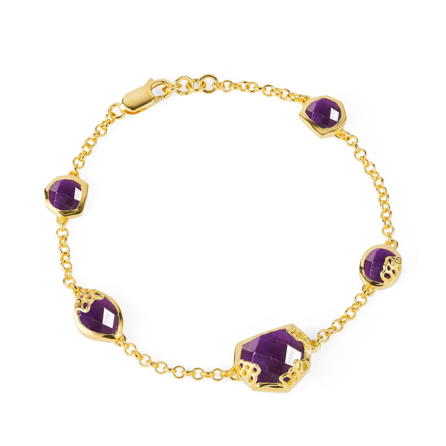 Honeycomb Gold Bracelet with Purple Amethyst