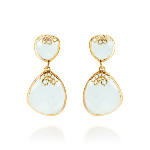 Gold Drop Earrings Aqua Chalcedony Organic | Neola British Handmade Jewellery