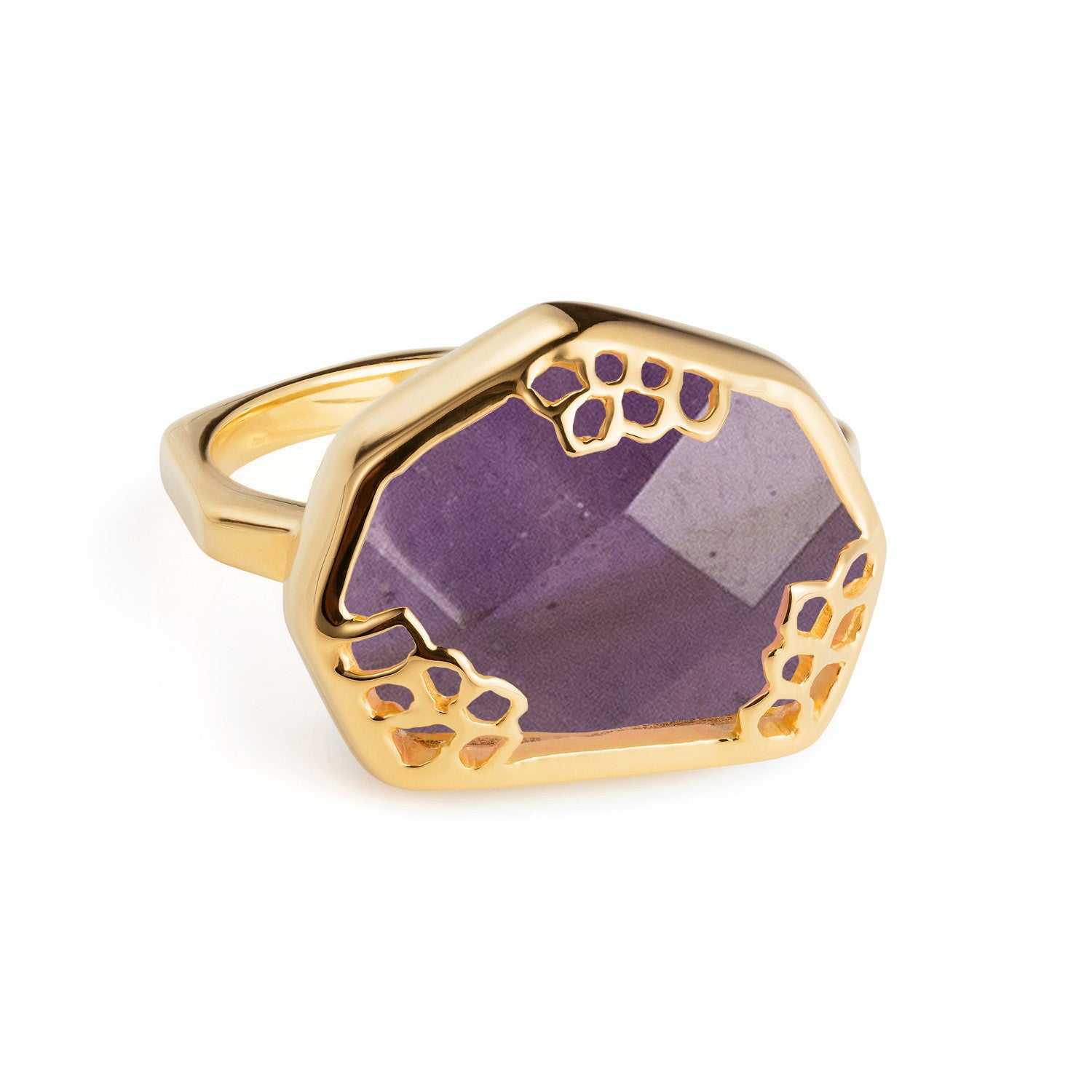 Gold Ring Purple Amethyst Organic | Neola British Handmade Jewellery