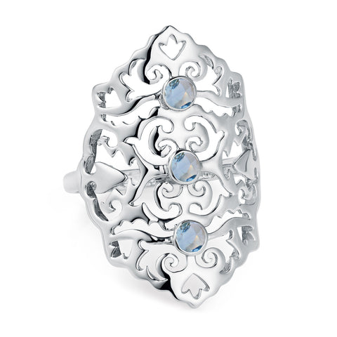 Sterling Silver Intricate Cocktail Ring Blue Topaz | Neola British Handmade Jewellery