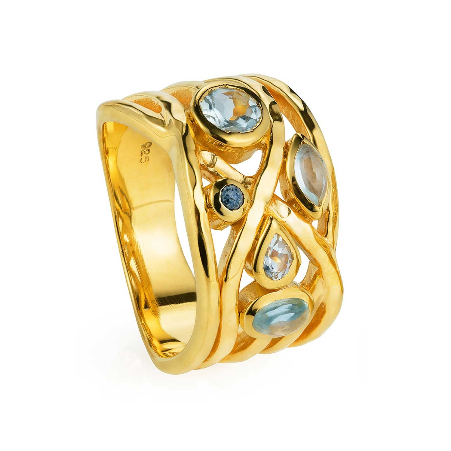 Gold vermeil cocktail ring, blue topaz, aquamarine, lapis lazuli gemstone, moonstone, geometric, unique British design