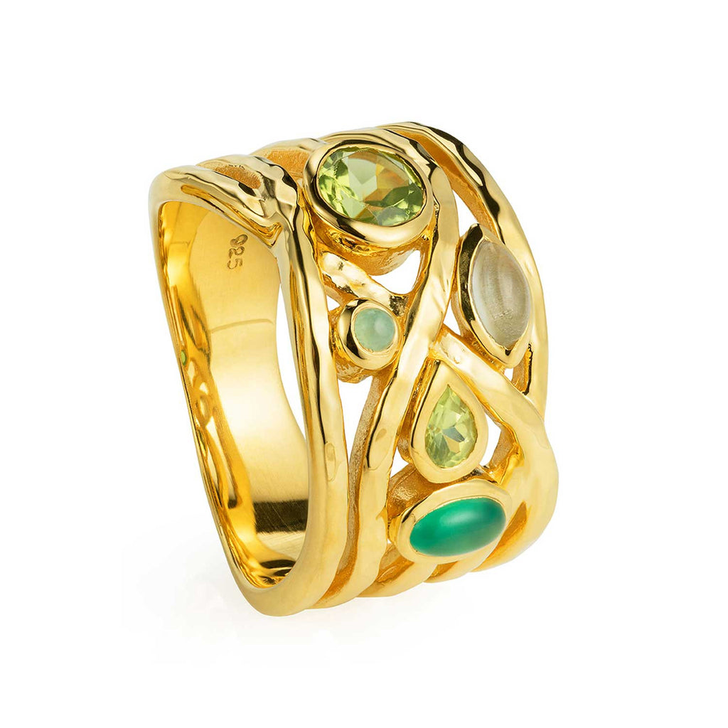 Gold vermeil cocktail ring, Green Amethyst, Green Onyx, Chrysoprase and Peridot, gemstone, geometric, unique British design