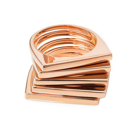 Rose Gold Geometric Stacking Ring | Neola British Handmade Jewellery