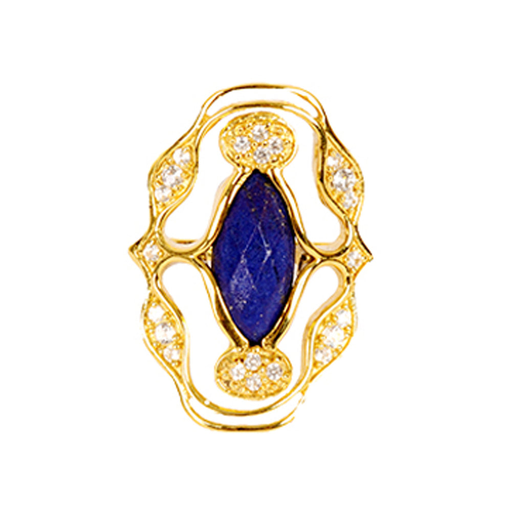 Norresa Gold Cocktail Ring with Lapis Lazuli