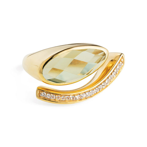 Gold Cocktail Ring Green Amethyst | Neola British Handmade Jewellery