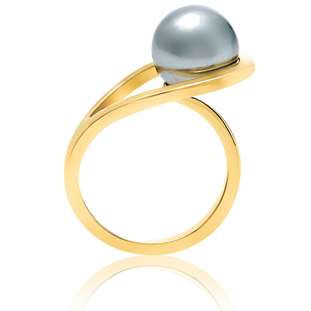 Gold ring, grey pearl, geometric, unique British design