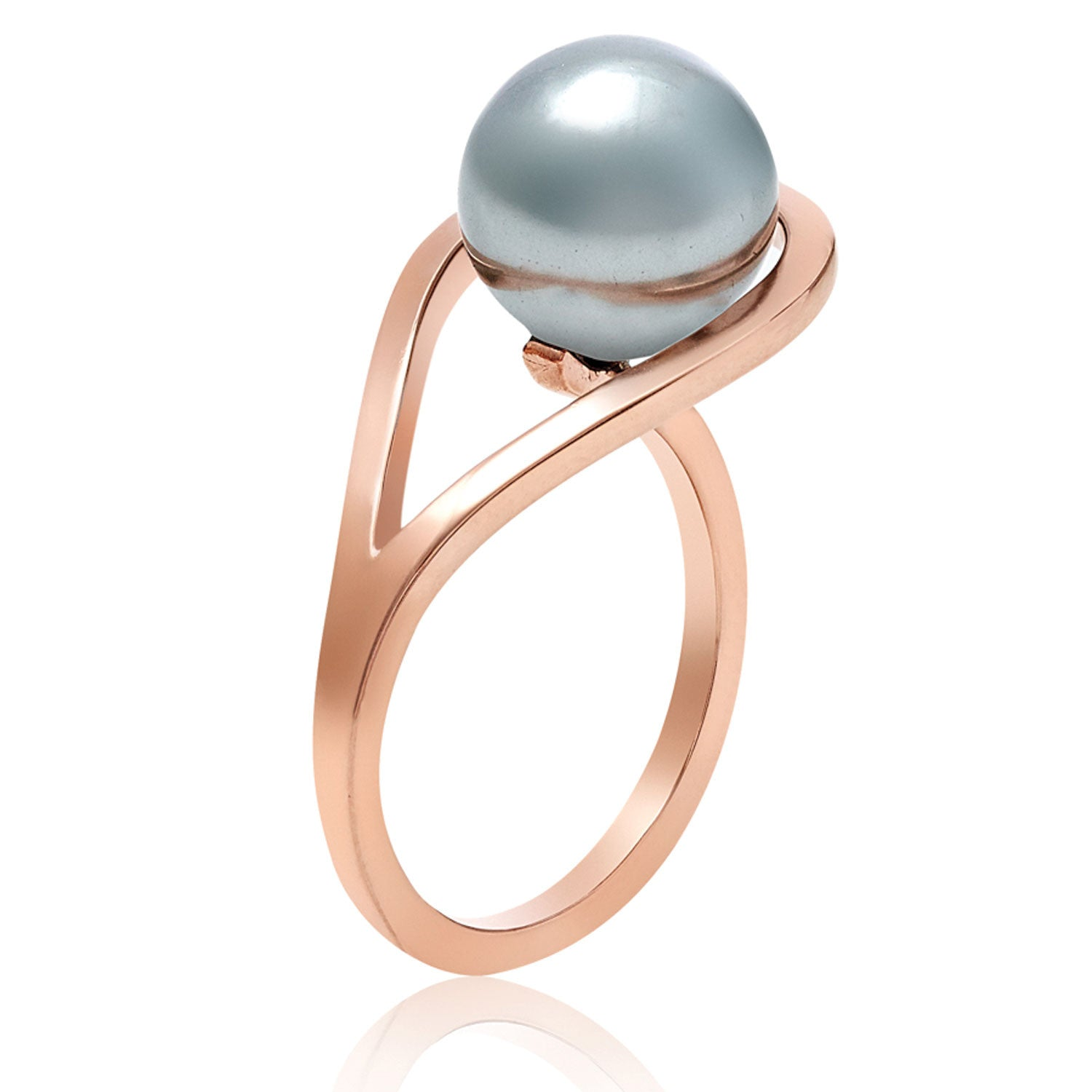 Rose Gold ring, grey freshwater pearl, geometric, unique design