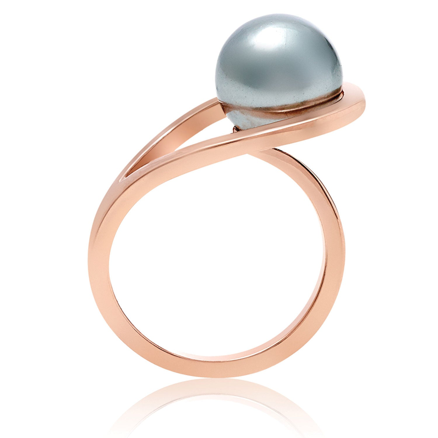 Rose Gold ring, grey pearl, geometric, unique British design