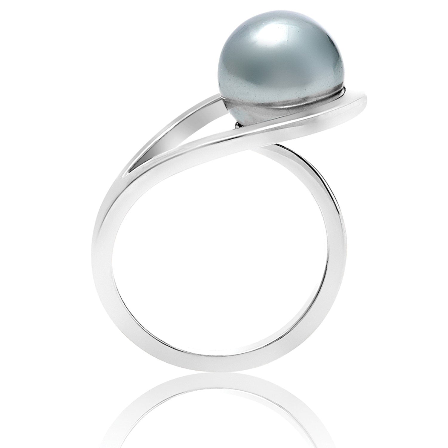 silver ring, pearl, geometric, unique British design