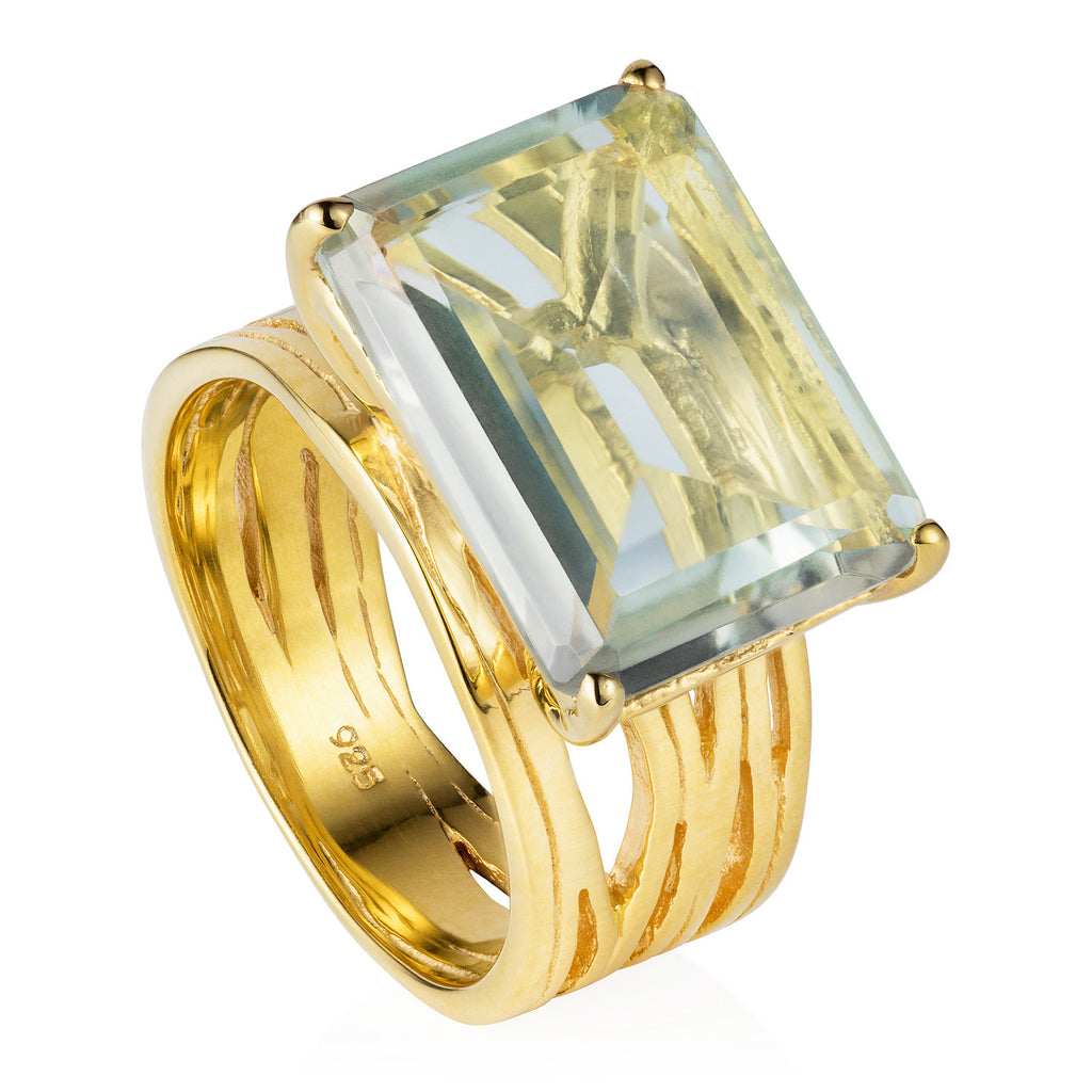 Gold vermeil cocktail ring, green amethyst gemstone, geometric, unique British design