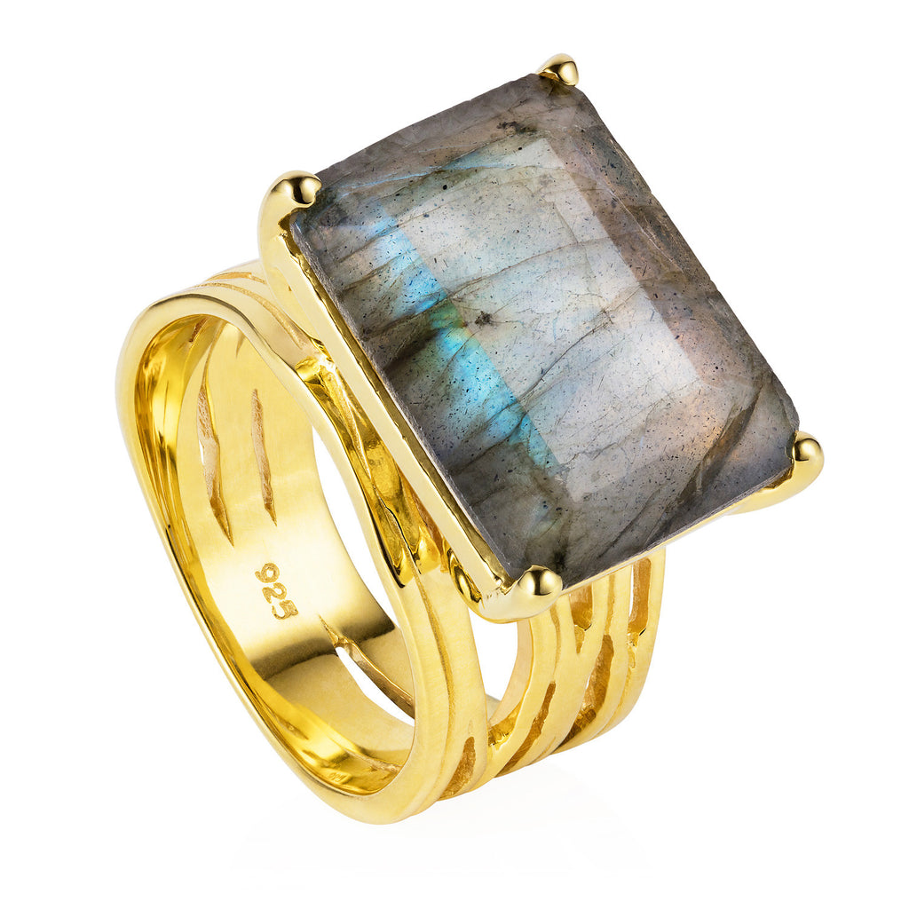 Gold vermeil cocktail ring, Labradorite, gemstone, geometric, unique British design