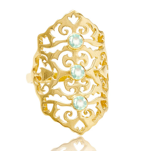 Gold Intricate Cocktail Ring Aqua Chalcedony | Neola British Handmade Jewellery