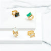 Different Gold vermeil cocktail rings, gemstone, geometric, unique British design