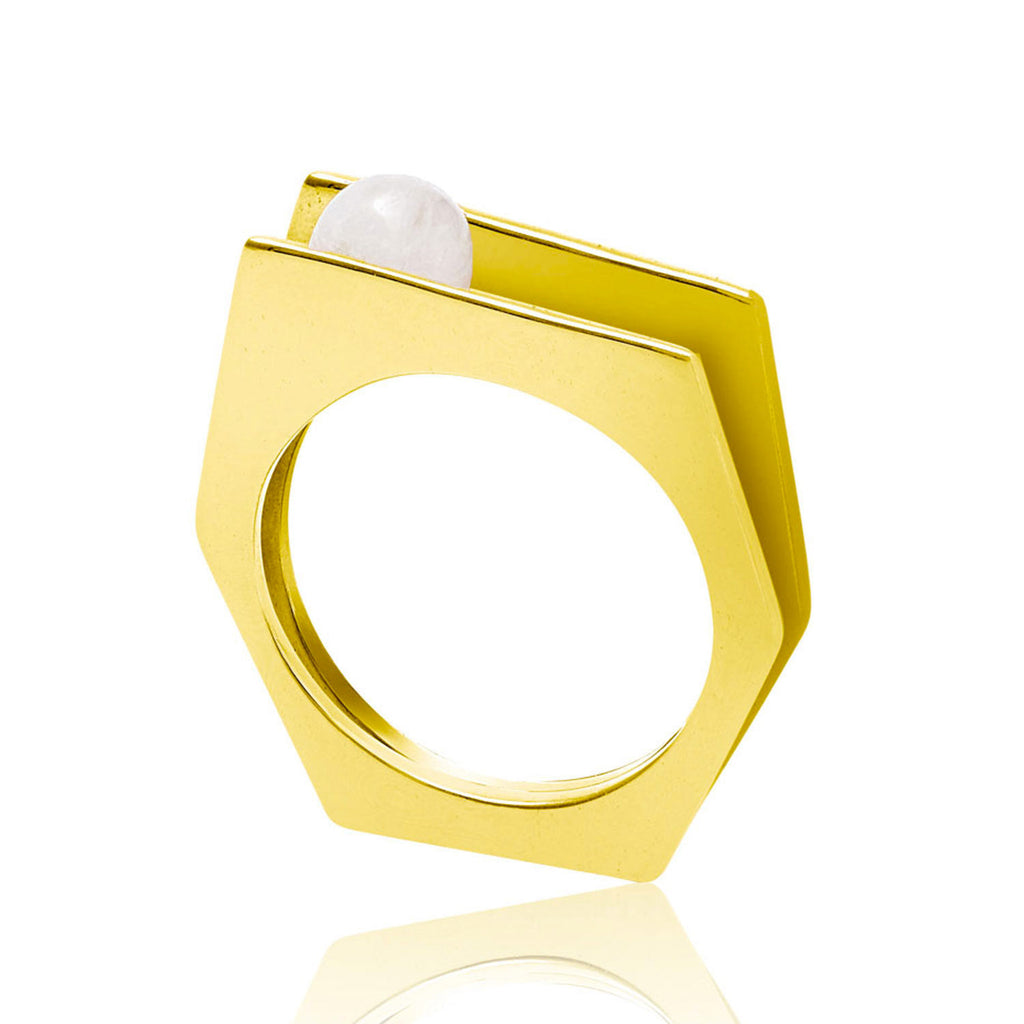 Gold vermeil cocktail ring, white pearl, geometric, minimalist