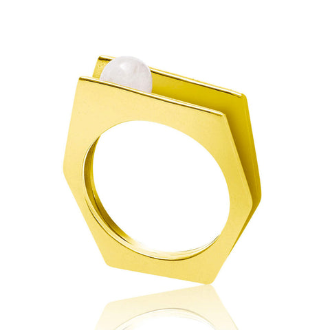 Gold Cocktail Ring White Pearl | Neola British Handmade Jewellery