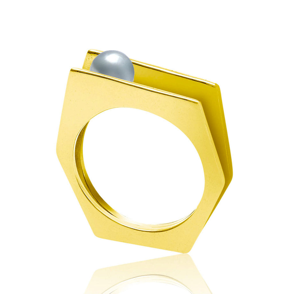gold vermeil cocktail ring, pearl, geometric, unique British design