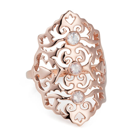 Rose Gold Intricate Cocktail Ring Rose Quartz | Neola British Handmade Jewellery