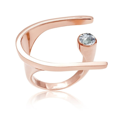 Pietra Gold Cocktail Ring Aqua Chalcedony