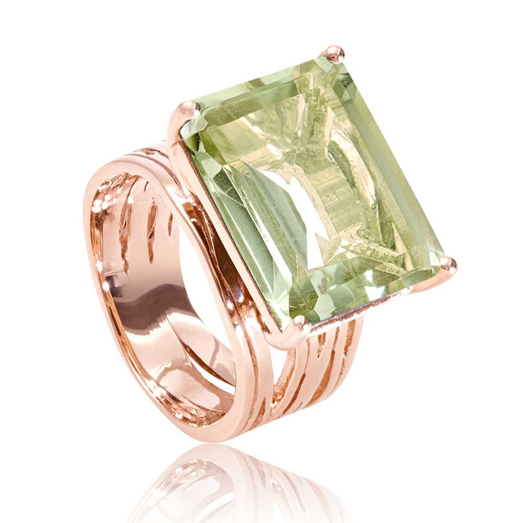 Rose gold vermeil cocktail ring, green amethyst gemstone, geometric, unique British design
