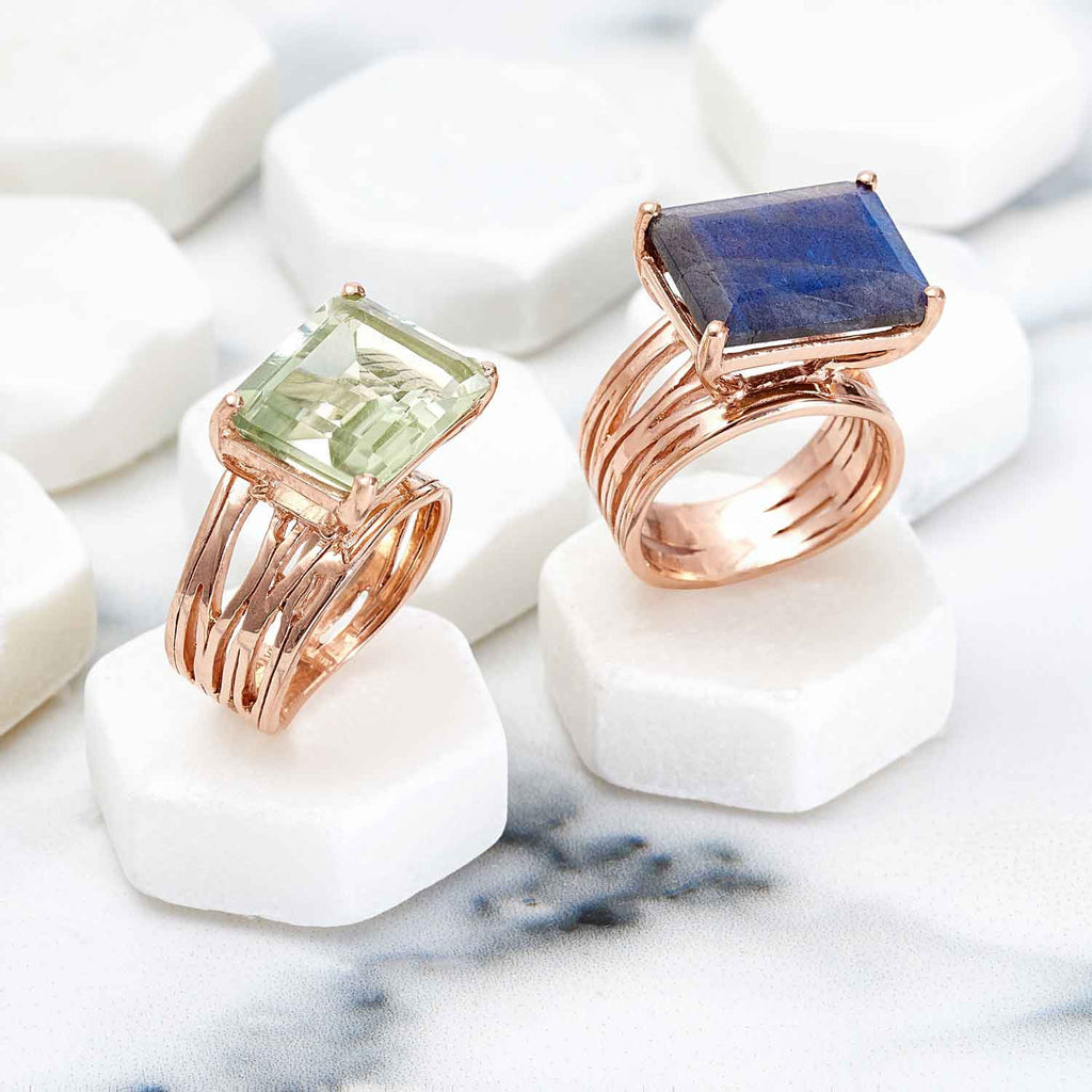 Rose gold vermeil cocktail ring, Labradorite gemstone, unique British design, minimalist
