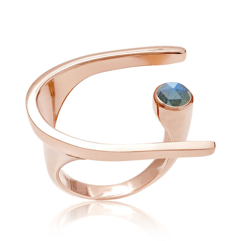 cocktail ring, statement ring, sculptured, neola design, rose goldLabradorite