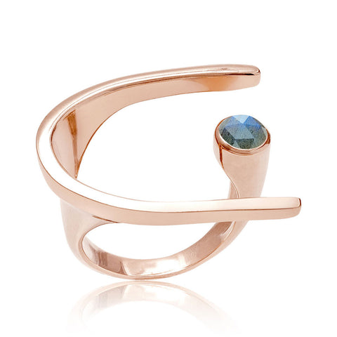 Rose Gold Cocktail Ring Labradorite | Neola British Handmade Jewellery