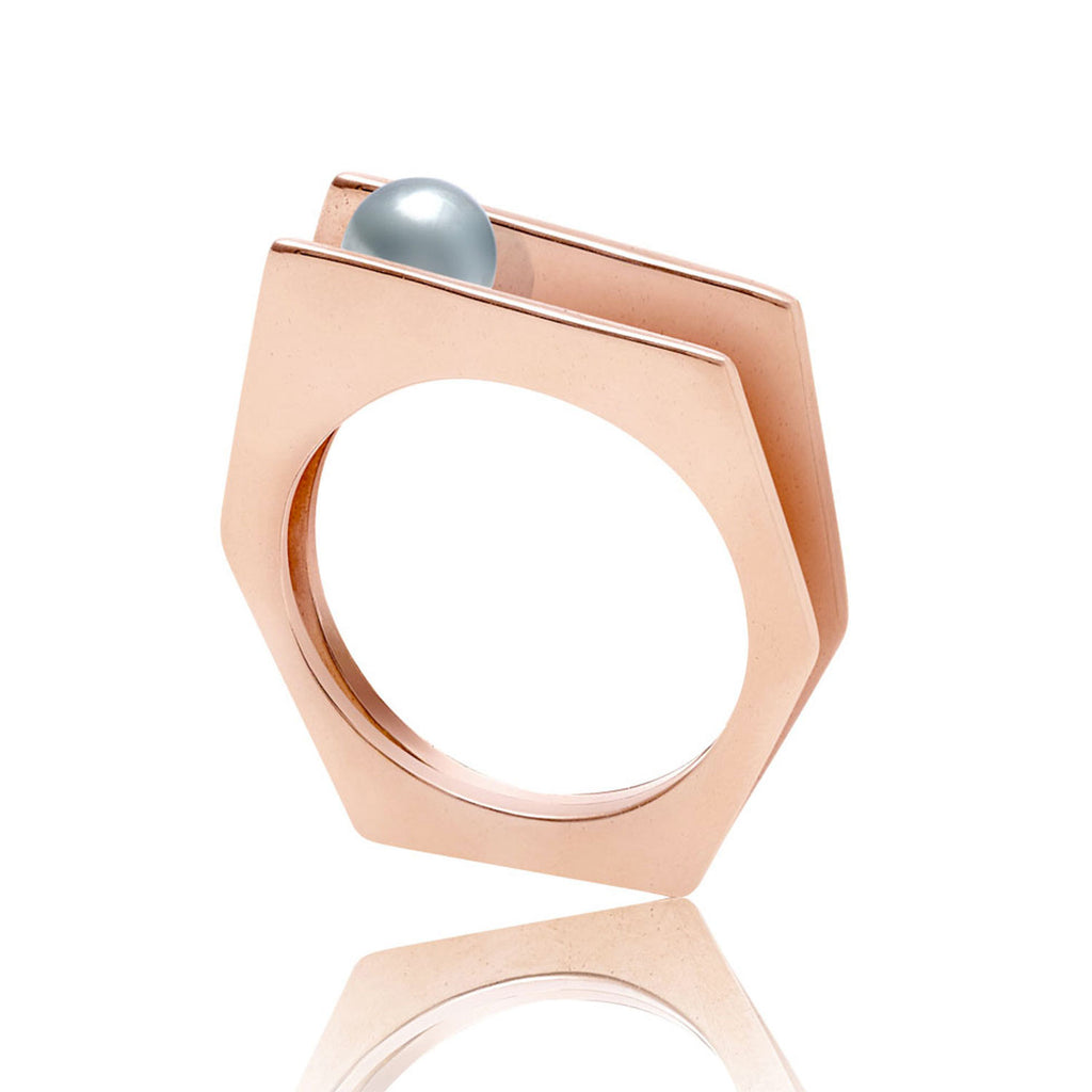 rose gold vermeil ring, grey pearl, geometric, unique British design