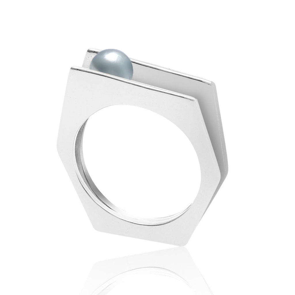 Sterling silver ring, grey pearl, geometric, unique British design