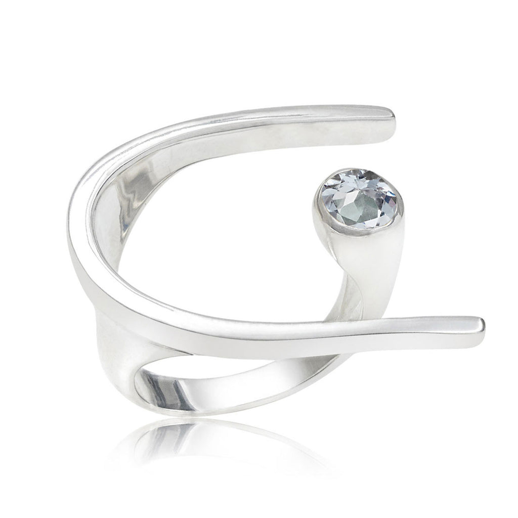Lunaria Sterling Silver Cocktail Ring with Blue Topaz