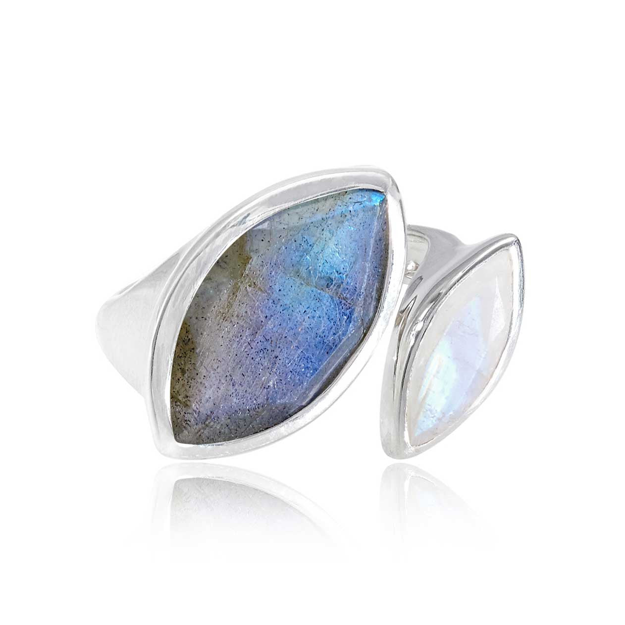 Silver cocktail ring, Labradorite and Rainbow Moonstone, geometric, unique British design