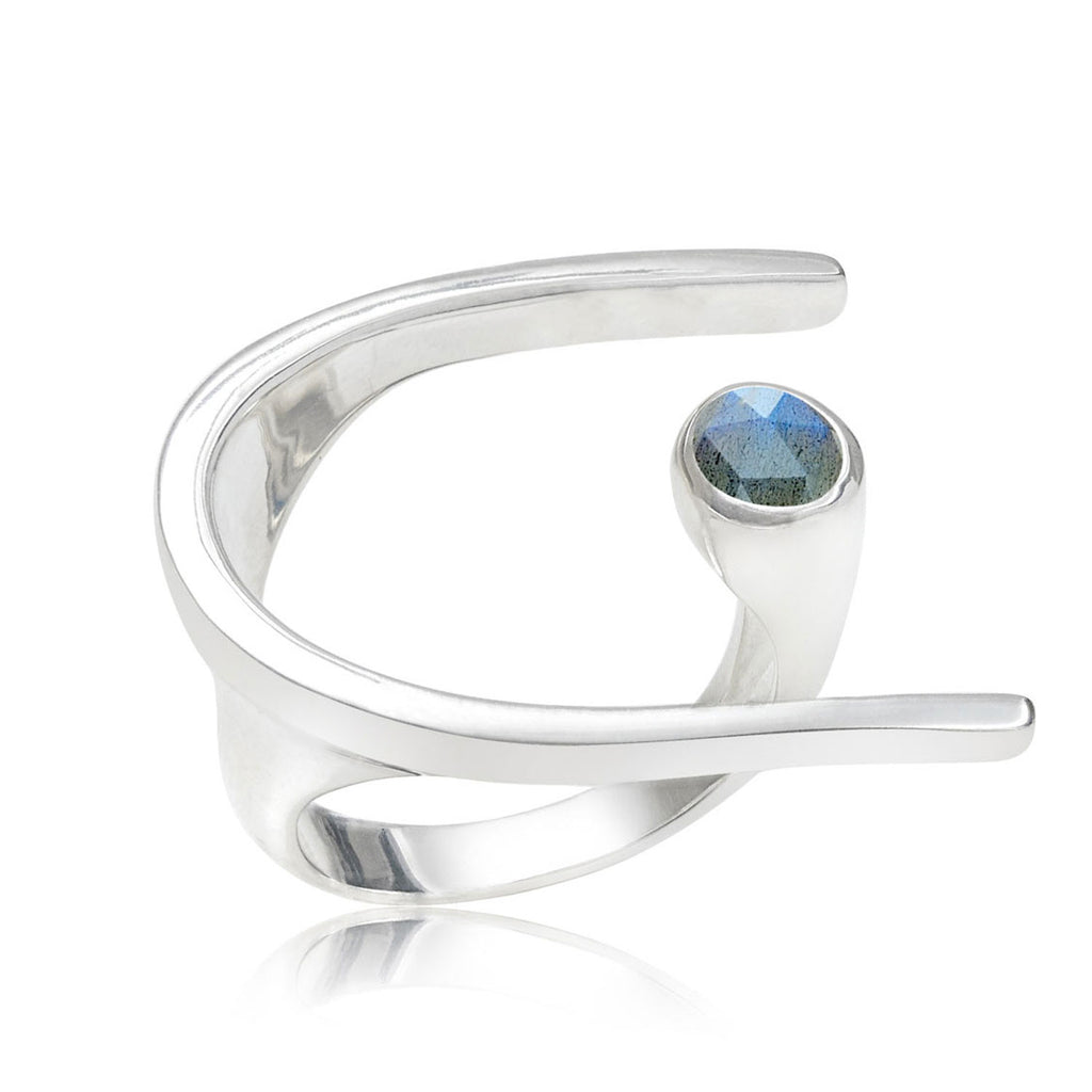 Lunaria Sterling Silver Cocktail Ring with Labradorite