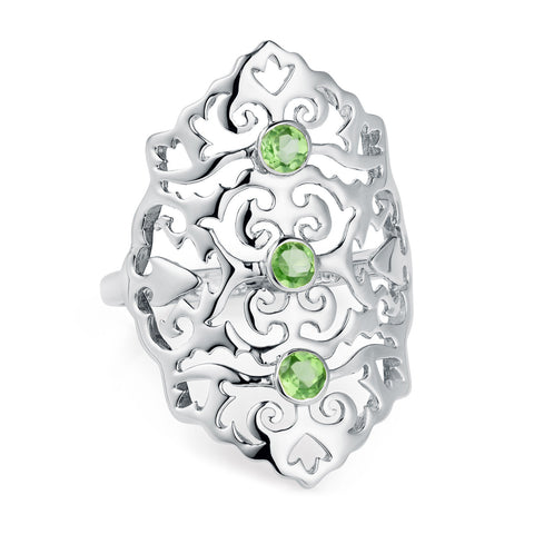 Sterling Silver Intricate Cocktail Ring Green Peridot | Neola British Handmade Jewellery