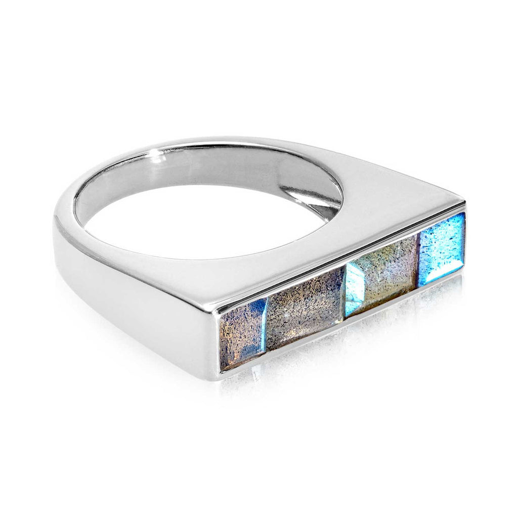 Equilibrium Sterling Silver Stacking Ring with Labradorite
