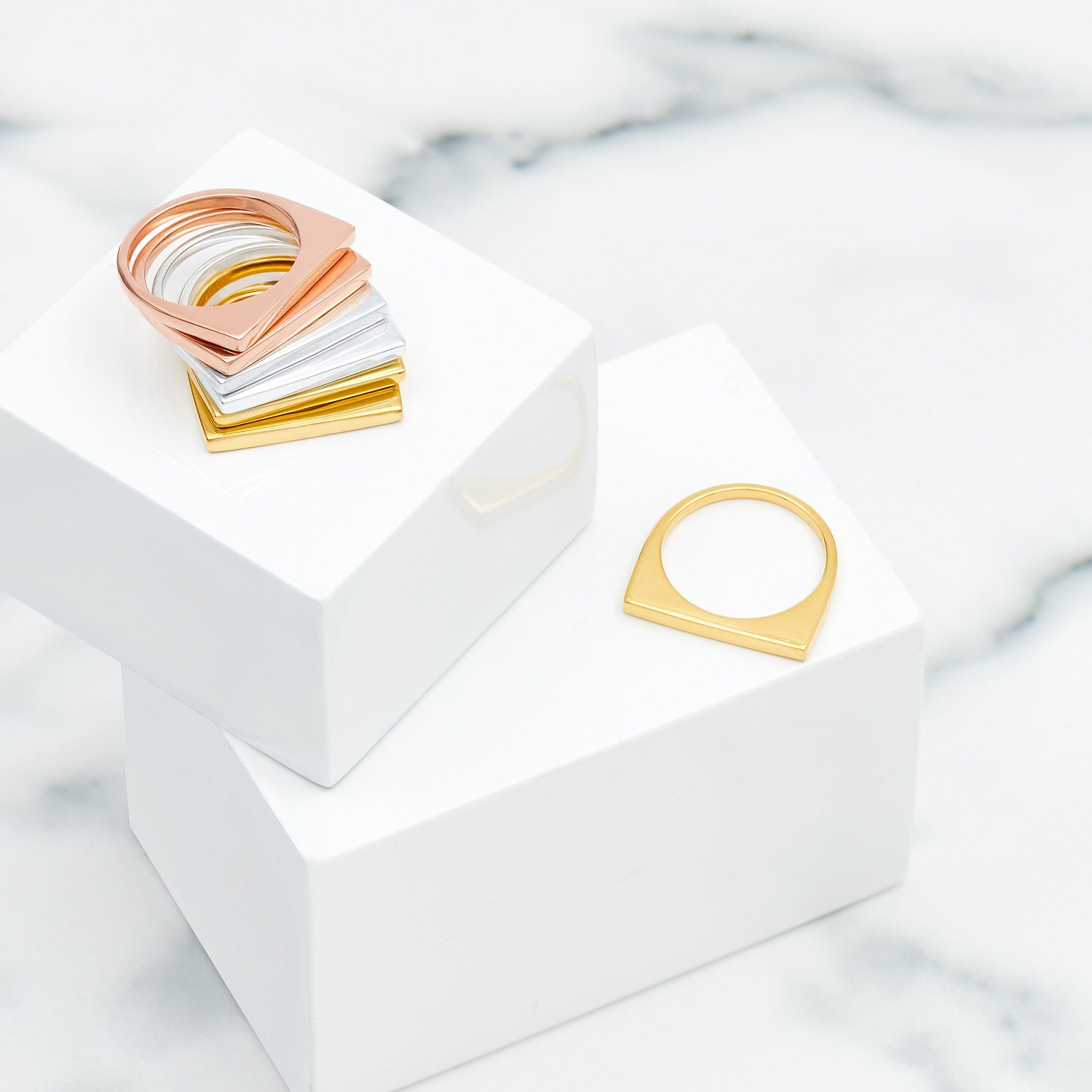 Rose Gold Geometric Stacking Ring