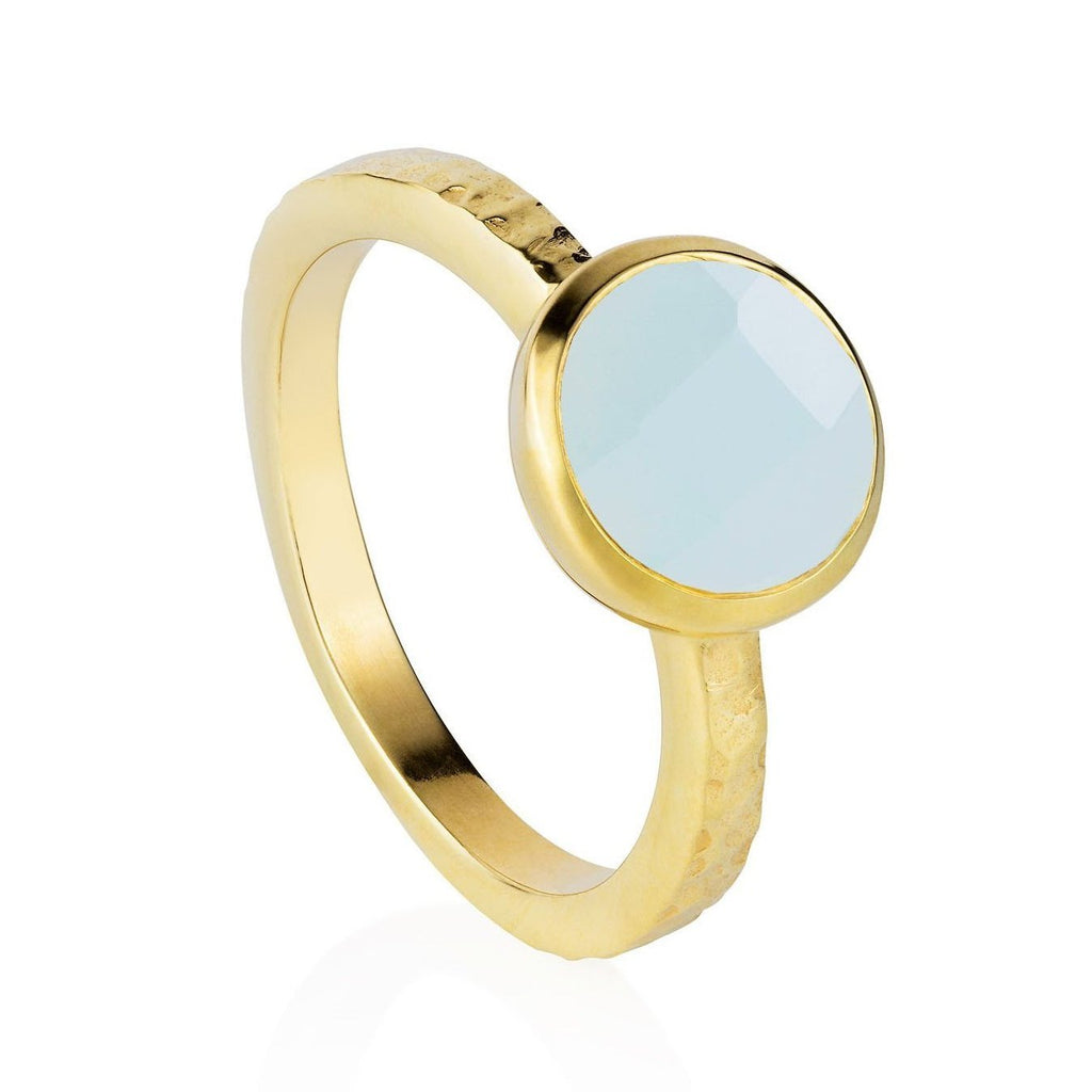Estella Gold Stacking Ring with Aqua Chalcedony