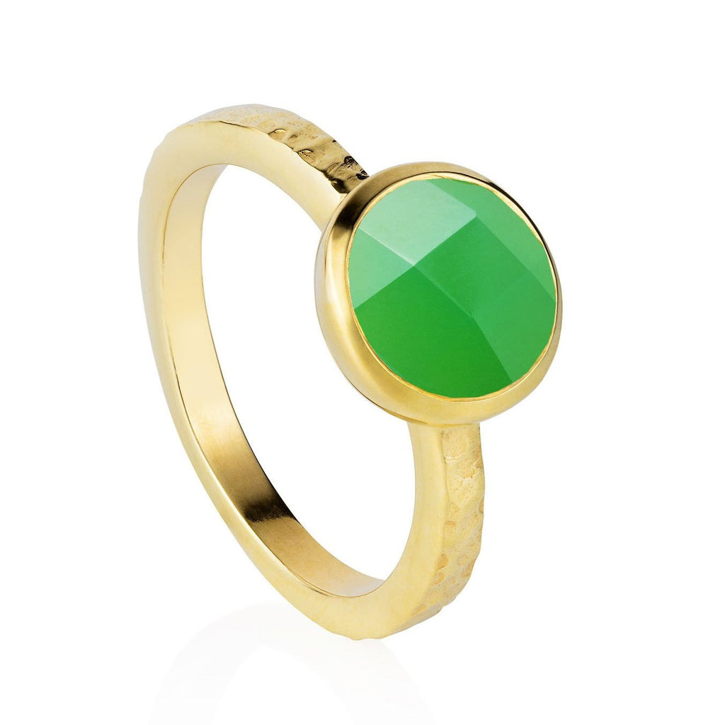 Estella Gold Stacking Ring with Chrysoprase