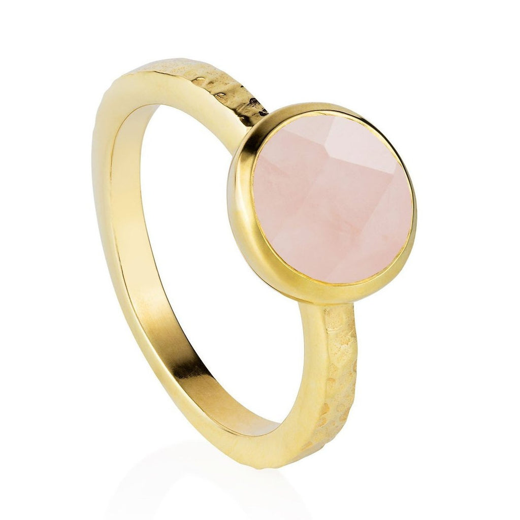 Estella Gold Stacking Ring with Rose Quartz