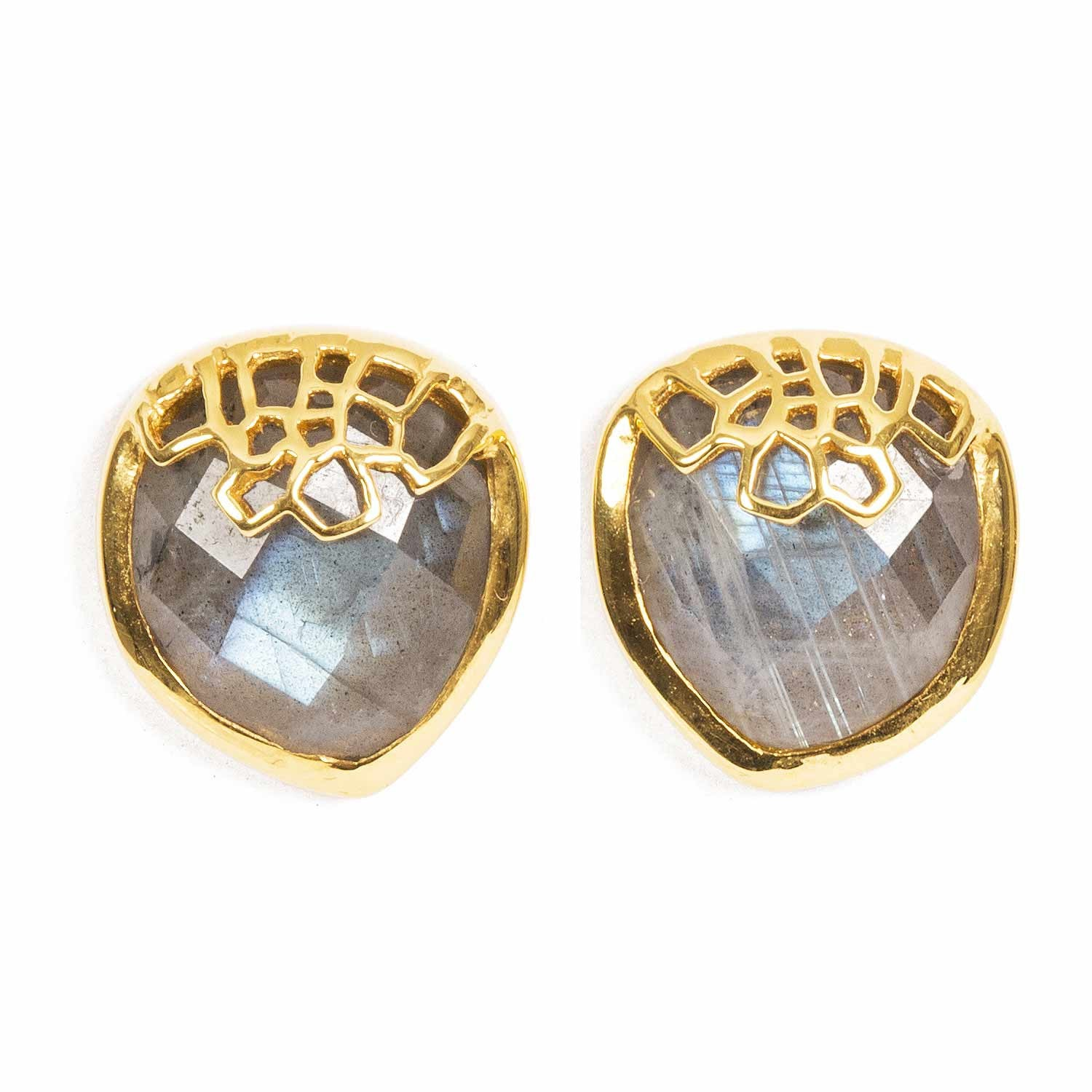 Honeycomb Gold Studs with Labradorite