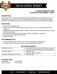 Presta Automotive Ultra-Cutting Creme Light Technical Data Sheet Cover Page