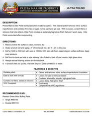 Presta Marine Chroma Ultra Polish Technical Data Sheet Cover Page