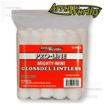 "ArroWorthy Mighty Mini Glossdel Pro-Line Lintless Roller Covers, 1/4"" Nap, 6.5 Inch, 10-Pack, 6.5-GL2CK"