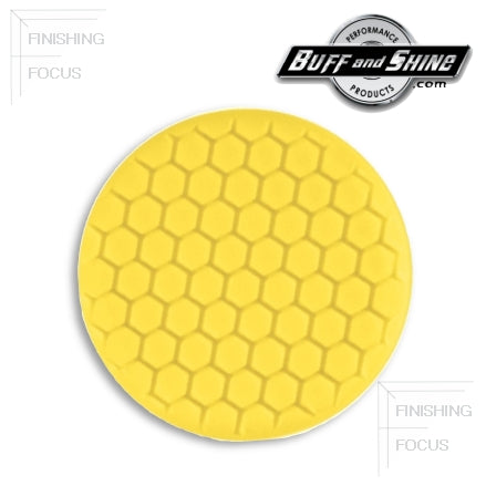 "Buff and Shine 7.5"" Center Ring Hex Face Foam, Yellow Medium Cutting Pad, 630RH"