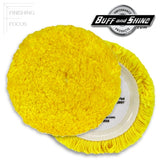 "Buff and Shine 7.5"" Wool, Yellow Blend 4-Ply Twist, Medium Cutting / Polishing Grip Pad, 7503GY"